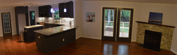 panoramic from kitchen to den